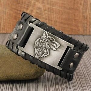 Other - Norse Fenrir Wolf Leather Cuff Bracelet